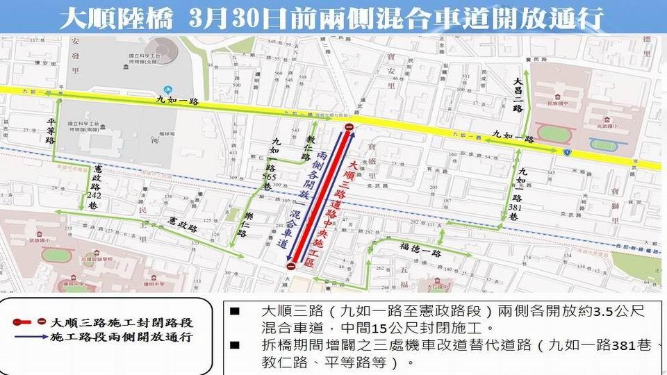3月30日前大順陸橋兩側混合車道開放通行
