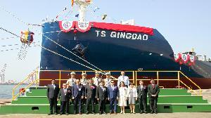 建造全貨櫃輪「TS QINGDAO」 台船為德翔公司命名