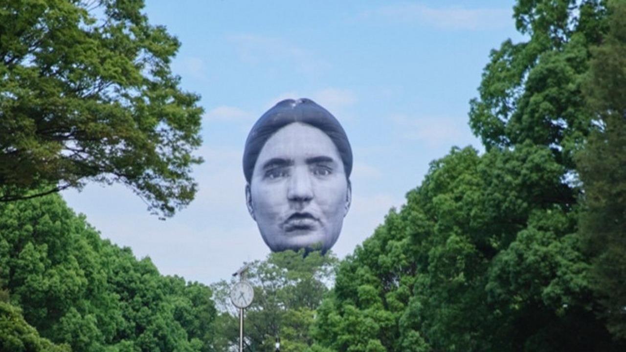 迎奧運 東京澀谷辦人頭熱氣球升空活動