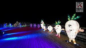 影/湖光映美濃 客家燈飾點亮美濃湖